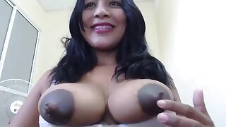 Exotic Brunette with Big black tits with big nipples on webcam - lactation fetish