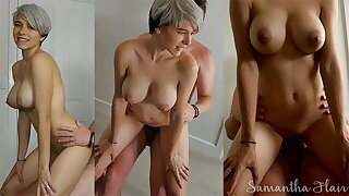 Short haired babe fucked all over the bedroom by daddy
