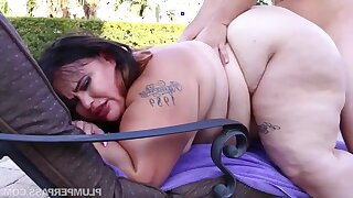 BBW with fat ass Victoria Secret - Oiled Up Secret - amateur hardcore with cumshots outdoors by the pool