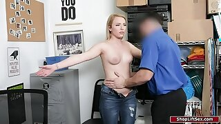19yo thief felt up her pussy by security