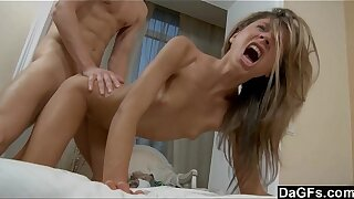 Perfect petite teen gets hard ride by a huge dick
